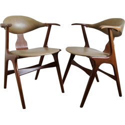 "Pair of armchairs ""Cow Horn"" in leatherette, Louis VAN TEEFFELEN - 1950s"