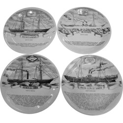"Set of 4 Fornasetti ""Florio fleet"" wall plates, Piero FORNASETTI - 1960s"