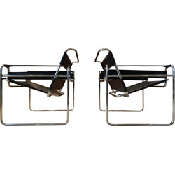 """Pair of mid century """"Wassily"""" armchairs, Marcel BREUER - 1980s"""