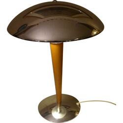 Mushroom table lamp in chromed metal and wood - 1980s