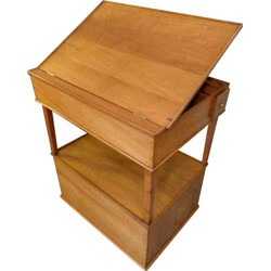 Small drawing desk and cabinet in cherry wood - 1930s
