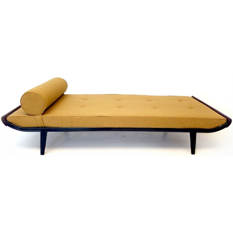 "Auping ""Cleopatra"" daybed in mustard yellow fabric and teak, Dick CORDEMEIJER - 1950s"