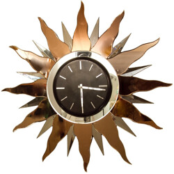 Sun shaped clock in peach glass and mirror - 1930s