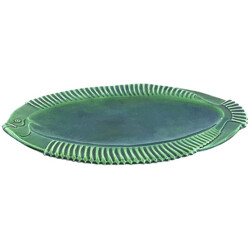 Green fish shaped Vallauris plate in ceramic - 1950s