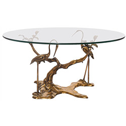 French coffee table in brass and glass, Willy DARO - 1970s