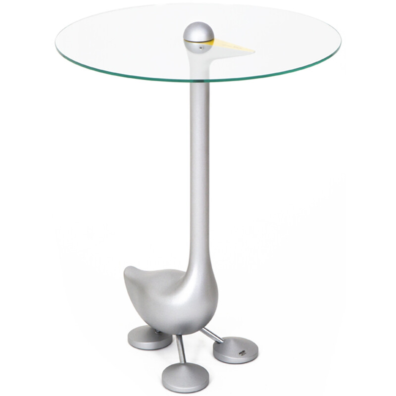 """Zanotta """"Sirfo"""" side table in glass and metal, Alessandro MENDINI - 1980s"""