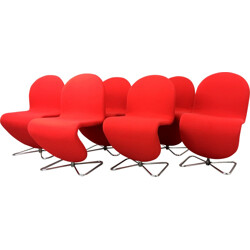 Set of 6 Fritz Hansen chairs in red fabric, Verner PANTON - 1970s