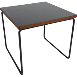 "Steiner ""Volante"" side table in wood and black lacquered metal, Pierre GUARICHE - 1950s"