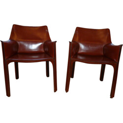 Pair of Cassina armchairs in cognac brown leather, Mario BELLINI - 1980s
