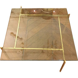 Vintage square coffee table with glass top - 1960s