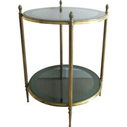 French side table in brass and glass - 1960s