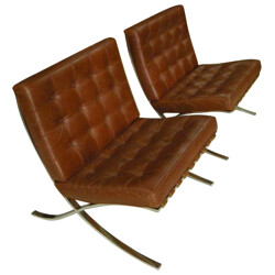 "Pair of low chair ""Barcelona"", Ludwig MIES VAN DER ROHE - 1970s"