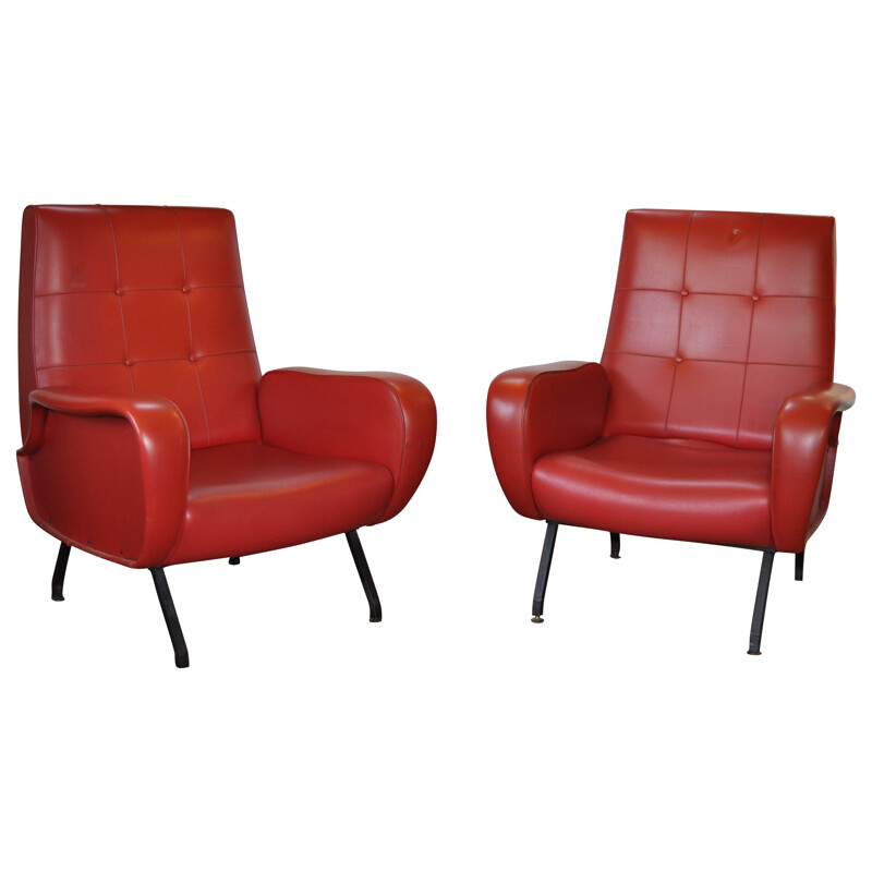 Italian pair of armchairs in red leatherette - 1950s