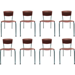 Set of 8 industrial Pagholz chairs in plywood - 1950s