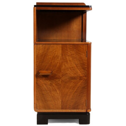 Small English bedside cabinet in walnut - 1930s