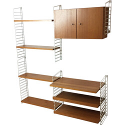 German Mustering wall unit in teak and lacquered metal - 1960s