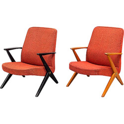 Pair of Nordiska armchairs in birch and red wool fabric, Bengt RUDA - 1950s