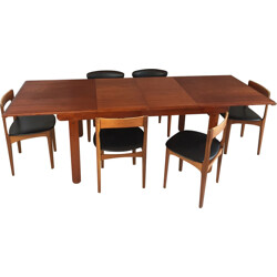 Set of extendable dining table and 6 chairs in teak and black leatherette - 1970s