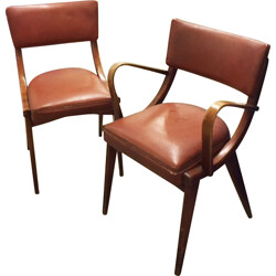 Pair of Benchairs of Somerset chairs in beech and brown leatherette - 1960s