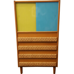 Large blue yellow cabinet in wood and rattan - 1960s
