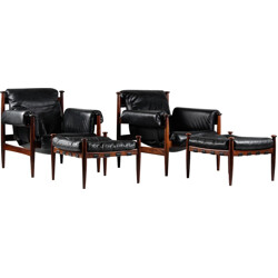 """Pair of IRE Möbler """"Amiral"""" armchairs in leather and rosewood, Eric MERTHEN - 1960s"""