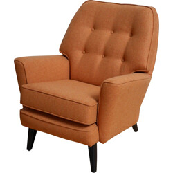 English RS Stevens armchair in orange wool fabric - 1950s