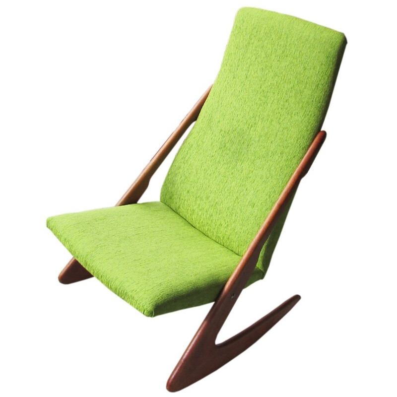 Rocking chair in solid teak and green fabric - 1960s