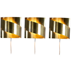 Set of 3 Swedish Falkenberg wall lamps in polished brass - 1970s