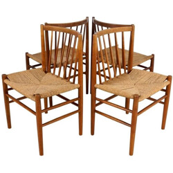Set of 4 FDB Møbler chairs in oak and papercord, Jørgen BAEKMARK - 1950s