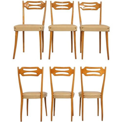 Set of 6 Italian dining chairs in maple and beige leatherette - 1950s
