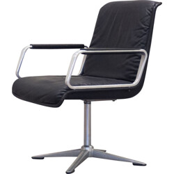 German Wilkhahn office chair in black leather and chromed steel - 1960s