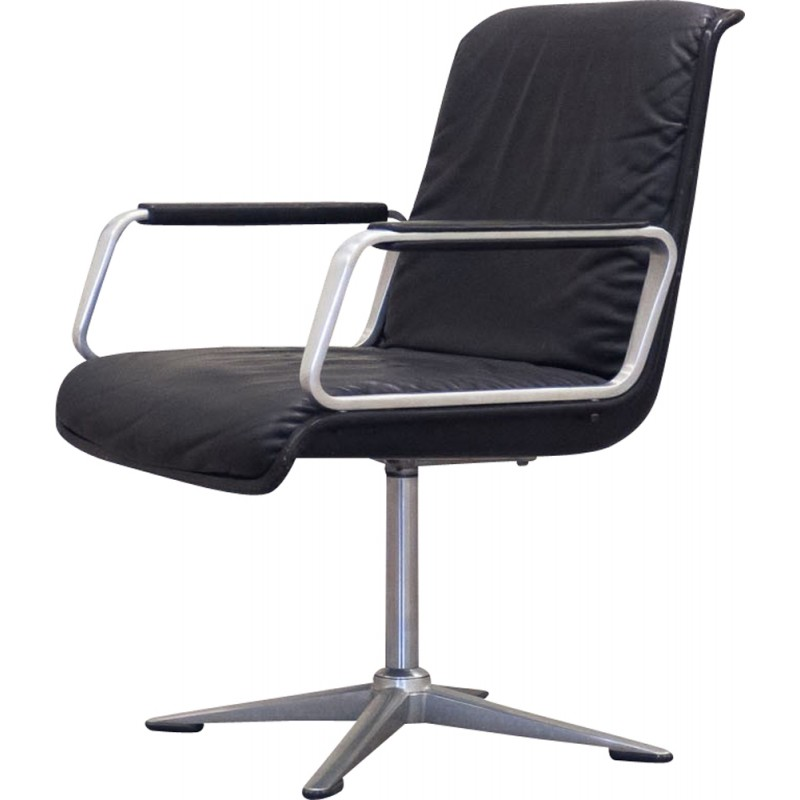 german office chairs. German Wilkhahn Office Chair In Black Leather And Chromed Steel - 1960s Chairs N
