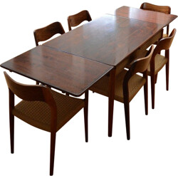 Danish dining set with 6 chairs, Niels O. MØLLER - 1950s