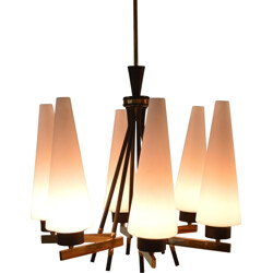 Italian chandelier in black lacquered metal and opaline - 1960s