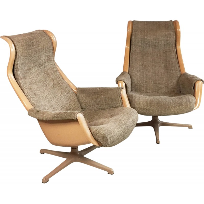 Pair Of Swedish Dux Swivel Chairs, Alf SVENSSON U0026 Ingvar SANDSTORM   1960s