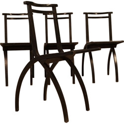 Set of 4 folding Cidue chairs in wood - 1970s