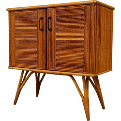 Mid century small sideboard in rattan and wood - 1960s
