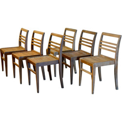 Set of 6 stackable chairs in wood, René GABRIEL - 1950s