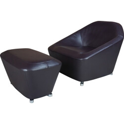 Cinna armchairs with ottoman in brown leather, François BAUCHE - 2000s
