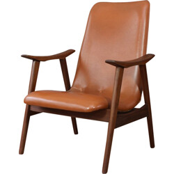 Dutch armchair in teak and brown leatherette - 1960s