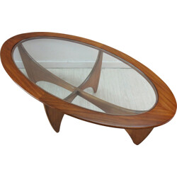 "Oval ""Astro"" coffee table in teak and glass, Victor WILKINS - 1960s"