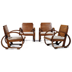 Pair of oak modernist armchairs - 1930s