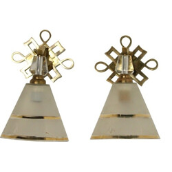 Pair of wall lamps in bronze and crystal - 1940s