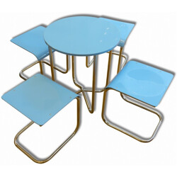 Set of 4 blue stools and Hynek Gottwald table, Mart STAM - 1930s