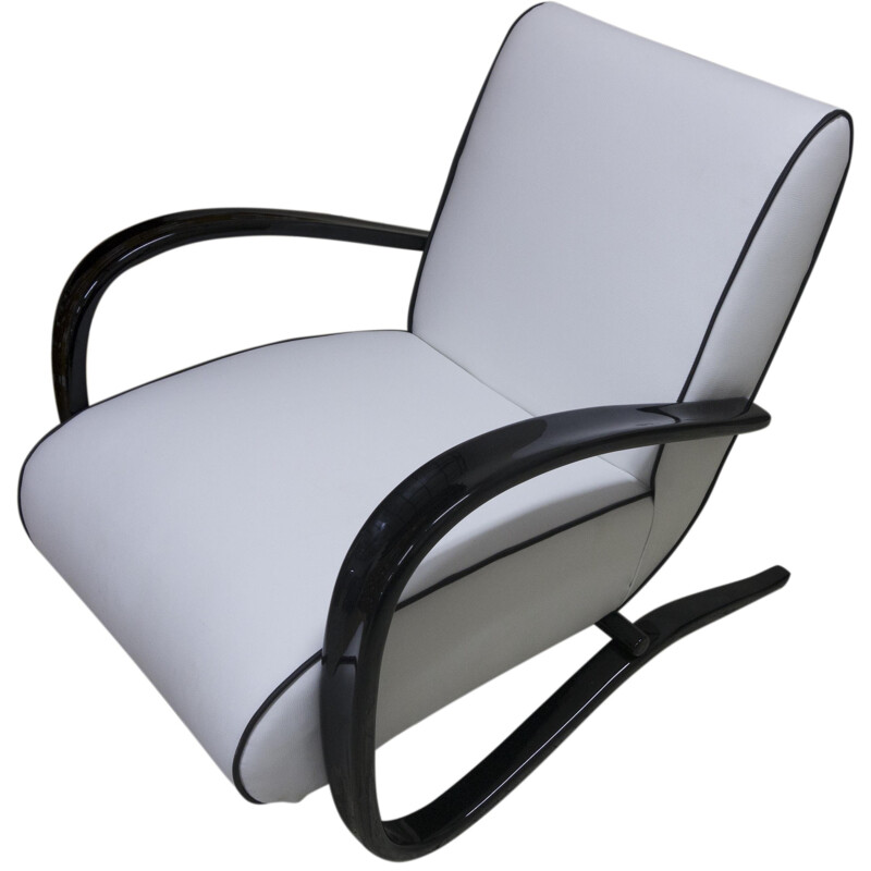 "UP Zavody Brno ""H-269"" armchair in white leatherette, Jindrich HALABALA - 1930s"