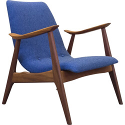 Vintage afromosia teak and blue fabric lounge chair - 1950s
