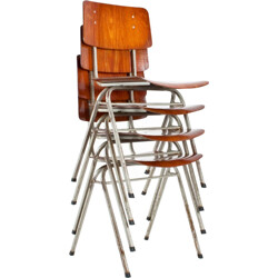 Set of 4 of industrial Dutch school chairs - 1960s