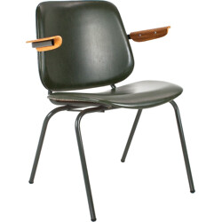 Dutch CAR Katwijk armchair in black leatherette, Kho LIANG IE - 1950s
