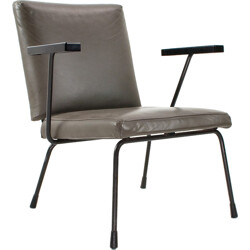 "Dutch Gispen ""1401"" armchair in army green leatherette, Wim RIETVELD - 1950s"