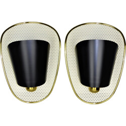Pair of perforated metal and brass wall lights, Jacques BINY - 1950s